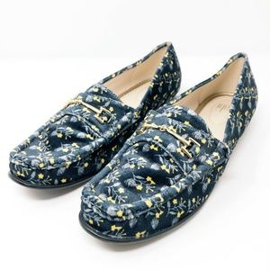 CAbi Blue Carnaby Velvet Floral Horsebit Loafers